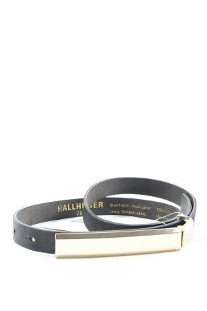 Hallhuber Cinturón de cuero negro estilo «business»