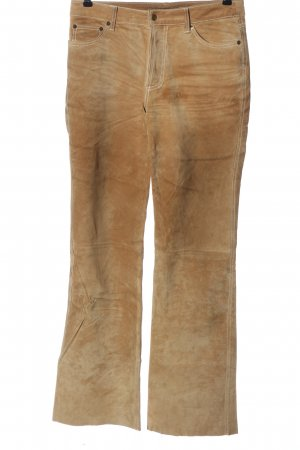 Hallhuber Pantalon en cuir brun style décontracté