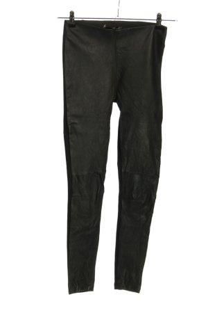 Hallhuber Pantalón de cuero negro look casual