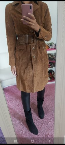 Hallhuber Cappotto in pelle bronzo-marrone