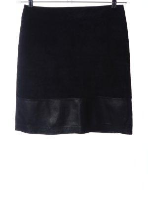 Hallhuber Falda de cuero negro estilo «business»