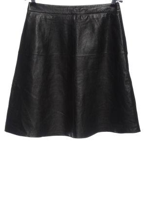 Hallhuber Falda de cuero negro look casual