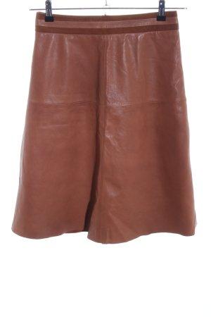 Hallhuber Jupe en cuir brun style décontracté