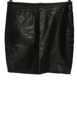 Hallhuber Jupe en cuir noir style décontracté