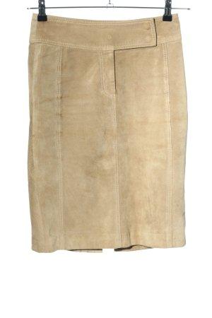 Hallhuber Falda de cuero crema estilo «business»