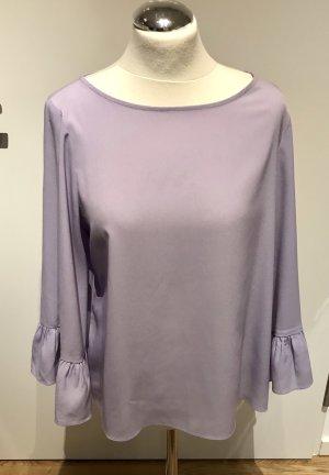 Hallhuber: Leichte lockere Volant Bluse in Lila Flieder Gr. 38