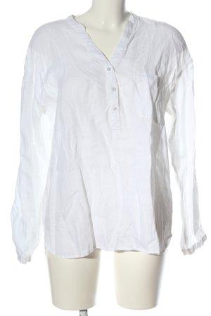 Hallhuber Blusa de lino blanco look casual