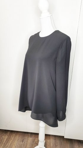 Hallhuber Longbluse 36 schwarz Rückenschlitz langarm Tunika layered mehrlagig Business Büro elegant