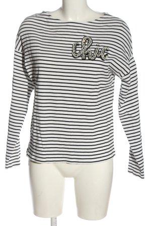 Hallhuber Top à manches longues blanc-noir motif rayé style décontracté