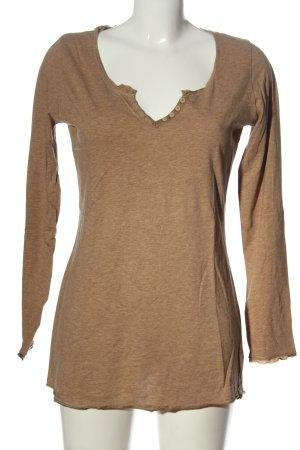 Hallhuber Koszulka z długim rękawem brązowy Melanżowy W stylu casual