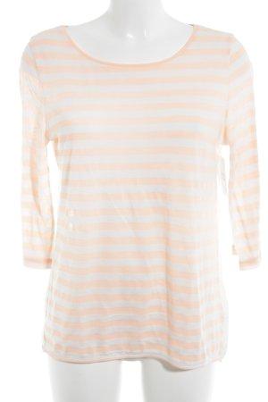Hallhuber Top à manches longues blanc-abricot motif rayé style décontracté
