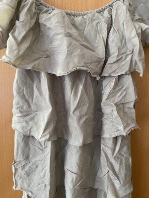 Hallhuber Longtop Volants Seide Grau Beige gr. 36