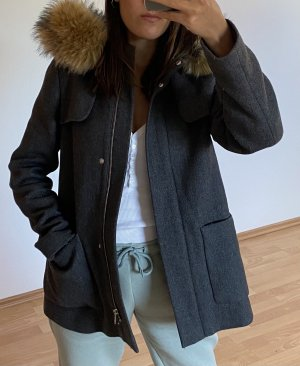 Hallhuber Manteau à capuche gris-marron clair