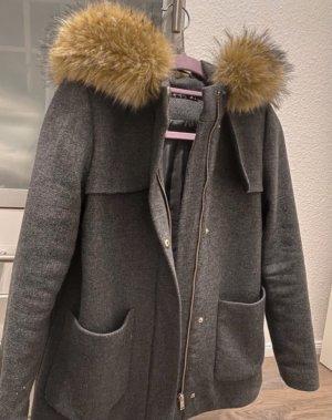 Hallhuber Płaszcz ze sztucznym futrem ciemnoszary