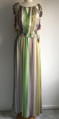 Hallhuber Maxi Seidenkleid multicolor mit Quasten NEU