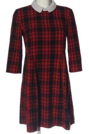 Hallhuber Vestido línea A rojo-negro estampado a cuadros estilo «business»