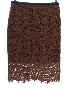 Hallhuber Falda de encaje negro-marrón estilo «business»