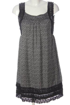 Hallhuber Mini vestido negro-blanco estampado repetido sobre toda la superficie