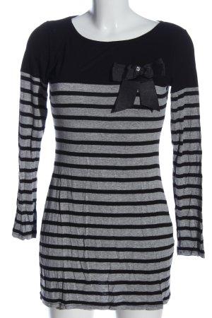 Hallhuber Minikleid hellgrau-schwarz Streifenmuster Casual-Look
