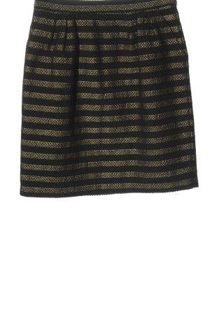 Hallhuber Minirock schwarz-goldfarben Streifenmuster Casual-Look