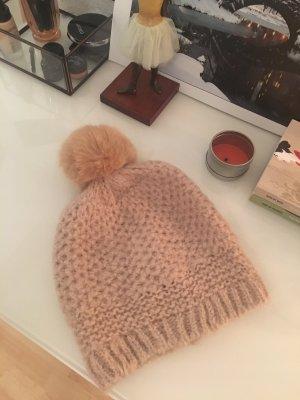 Hallhuber Mütze mit Bommel in Beige