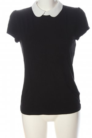 Hallhuber Blusa Camisa negro-blanco elegante