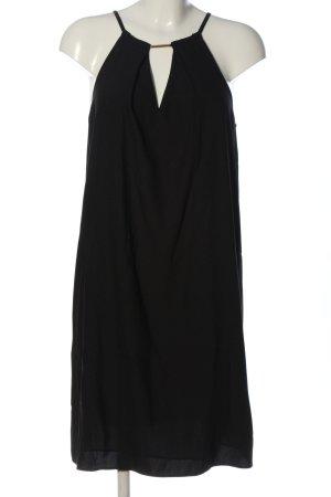 Hallhuber Vestido de cuello Halter negro estilo «business»