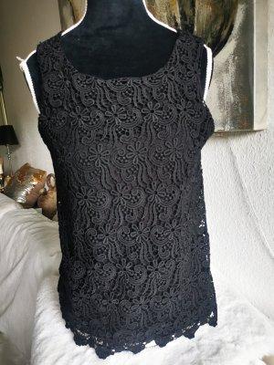 Hallhuber, Oberteil, Shirt, XS, schwarz, Spitze