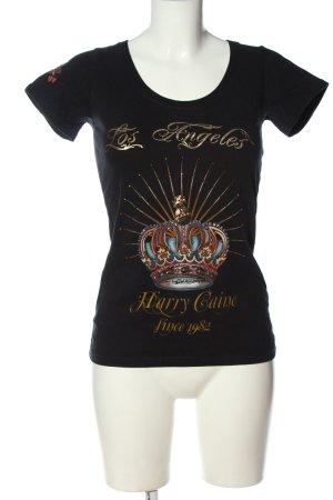 Hallhuber Print-Shirt schwarz Motivdruck Casual-Look