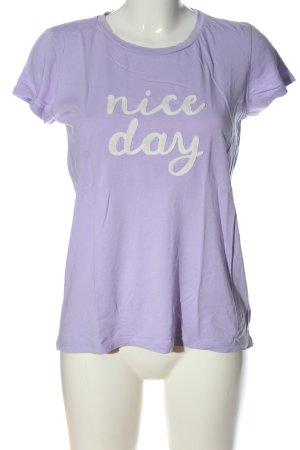 Hallhuber Print-Shirt lila-weiß Schriftzug gedruckt Casual-Look