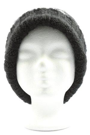 Hallhuber Cappello con pon pon nero-bianco stile casual