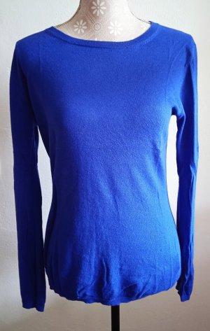 Hallhuber Sweter z dzianiny niebieski Bawełna