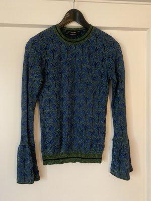 Hallhuber Jersey de cuello redondo azul oscuro-verde oscuro