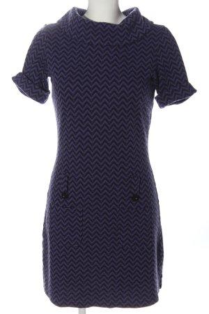 Hallhuber Pulloverkleid blau-schwarz Allover-Druck Vintage-Look