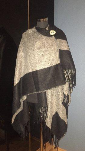 Hallhuber Bufanda de punto negro-gris