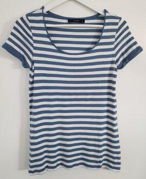 Hallhuber Ringel-Shirt, blau-weiß gestreift, Größe S, weiter Rundhalsausschnitt