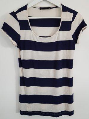 Hallhuber Ringel-Shirt, dunkelblau-cremeweiß gestreift, Größe XS, Rundhalsausschnitt