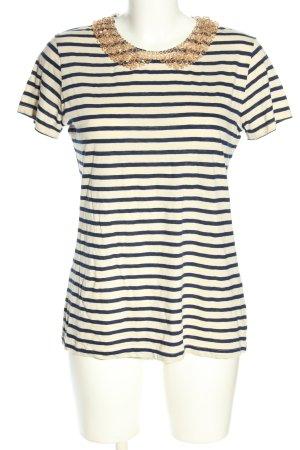 Hallhuber T-shirt rayé blanc cassé-bleu motif rayé style décontracté