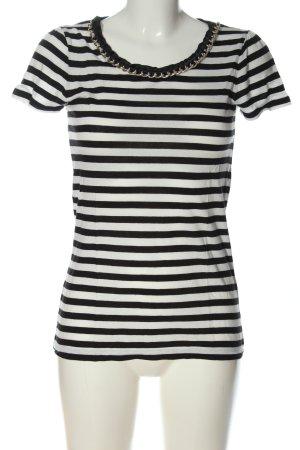 Hallhuber Stripe Shirt white-black allover print casual look