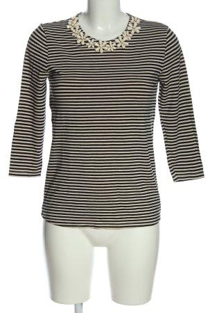 Hallhuber Ringelshirt creme-schwarz Streifenmuster Casual-Look