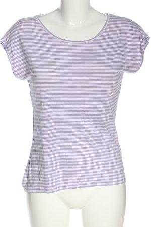 Hallhuber Koszulka w paski fiolet-biały Na całej powierzchni W stylu casual