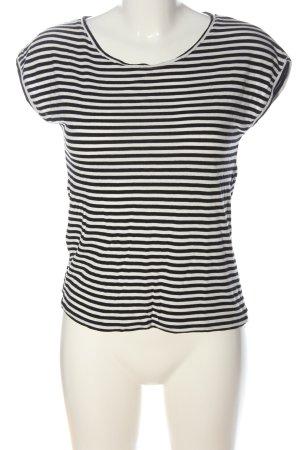 Hallhuber Camisa de rayas blanco-negro estampado a rayas look casual