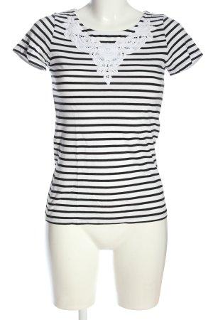 Hallhuber Maglietta a righe bianco-nero stampa integrale stile casual