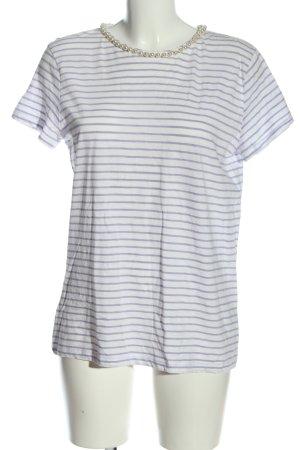 Hallhuber Prążkowana koszulka biały-fiolet Na całej powierzchni