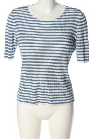 Hallhuber Rippshirt weiß-blau Allover-Druck Casual-Look
