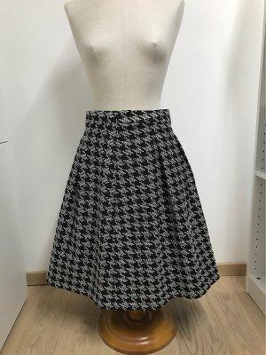 Hallhuber High Waist Skirt white-black