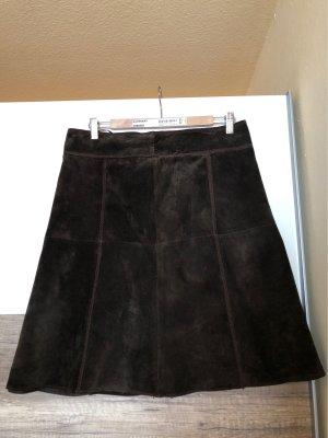 Hallhuber Leather Skirt dark brown