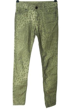 Hallhuber Röhrenhose grün Allover-Druck Casual-Look