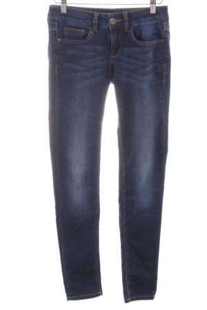 Hallhuber Röhrenjeans blau-orange Jeans-Optik