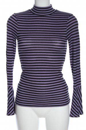 Hallhuber Turtleneck Shirt black-lilac striped pattern casual look